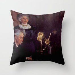 Edvard Grieg (1843 – 1907) accompanying his wife by Peder Severin Kroyer (1851-1909) Throw Pillow