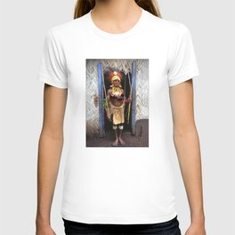 Papua New Guinea Chief in Hut Doorway T-shirt