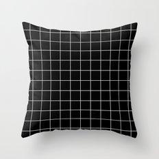 Grid Simple Line Black Minimalistic Throw Pillow