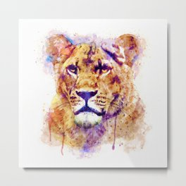 Lioness Head Metal Print
