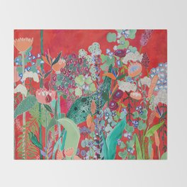 Red floral Jungle Garden Botanical featuring Proteas, Reeds, Eucalyptus, Ferns and Birds of Paradise Throw Blanket