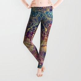 Gold watercolor and nebula mandala Leggings