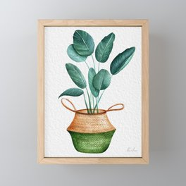 Tropical Plant In A Basket Planter Framed Mini Art Print