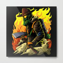 Firefighter Illustration | Fire Brigade Hero Flame Metal Print
