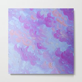 PURPLE PLUMES - Soft Pastel Wispy Lavender Clouds Lilac Plum Periwinkle Abstract Acrylic Painting  Metal Print