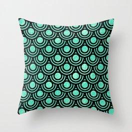 Mermaid Scales in Metallic Sea Foam Green Throw Pillow