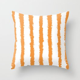Spicy Mustard Vertical Stripes Abstract Chalk Brush Strokes Minimal Pattern Home Throw Pillow