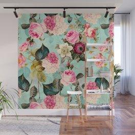 Vintage & Shabby Chic - Summer Teal Roses Flower Garden Wall Mural