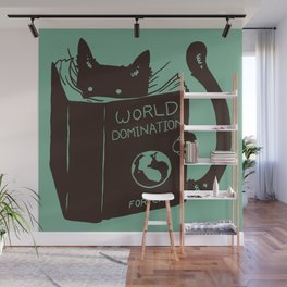 World Domination for Cats (Green) Wall Mural