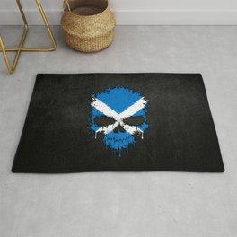 Flag of Scotland on a Chaotic Splatter Skull Rug