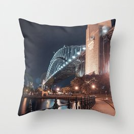 Night Bridge Building Throw Pillow