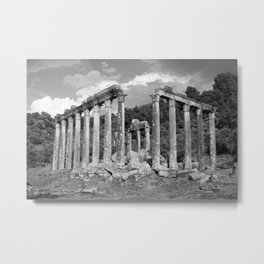 Euromos Ruins Black and White Photography Metal Print