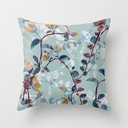 Flower garden in blue sky hand drawn illustration pattern Throw Pillow