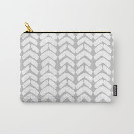 Hand-Drawn Herringbone (White & Gray Pattern) Carry-All Pouch
