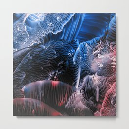 Abstract Midnight Blue Red Metal Print