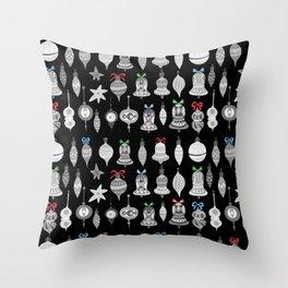 Christmas Ornaments - black Throw Pillow