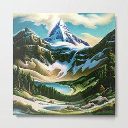 The Trail Riders Mountain Landscape by Thomas Hart Benton Metal Print