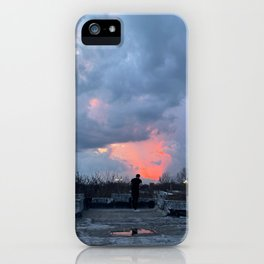 Pink Sunset Through Storm Clouds iPhone Case