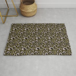 Intricate Victorian Scroll Pattern With Deep Purples and Greens Rug