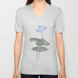 lotus watercolor painting Unisex V-Neck