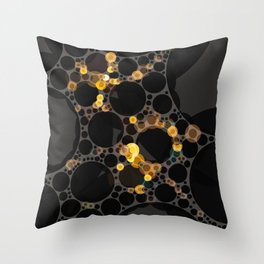 noella - dark abstract black brown yellow gold taupe tan Throw Pillow