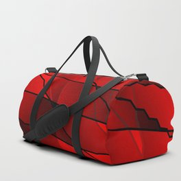 Mirrored gradient shards of curved red intersecting ribbons and horizontal lines. Duffle Bag