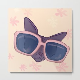 Sphynx Cat Wearing Pink and Blue Sunglasses - Pastel Floral Background Metal Print
