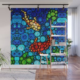 Pure Koi Joi - Mosaic Fish Art Painting by Sharon Cummings Wall Mural