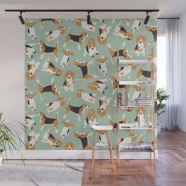 beagle scatter mint Wall Mural