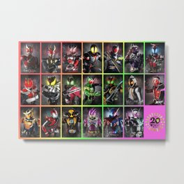 Kamen Rider Heisei Era Main Riders 20th Anniversary Metal Print