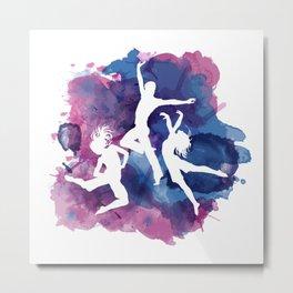 Watercolor Tie Dye Dance Is Life, Pink, Blue, Violet Metal Print