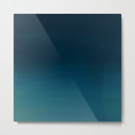 Navy blue teal hand painted watercolor paint ombre Metal Print
