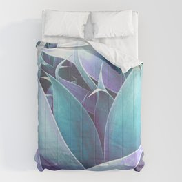 Lavender Seafoam Abstract Leaves Comforters