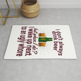 Funny Beer Party Lover Snob Quote on Beergarden Beerpong Whore Design Rug