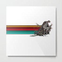 Skeksis Banner Strips Metal Print