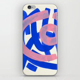 Tribal Pink Blue Fun Colorful Mid Century Modern Abstract Painting Shapes Pattern iPhone Skin