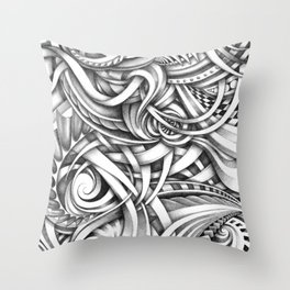 Escher Like Abstract Hand Drawn Graphite Gray Depth Throw Pillow