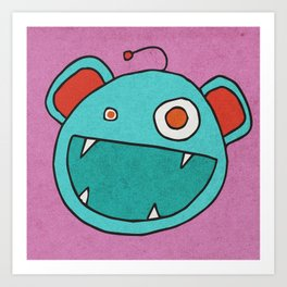 Slightly Amused Monsters, III Aquamarine Art Print