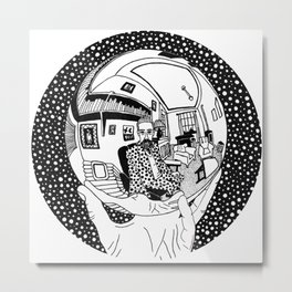 Escher - Self-portrait on a sphere Metal Print