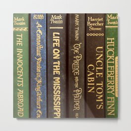 Old Books - Square Twain Metal Print