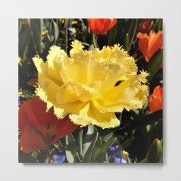 Happy Yellow Tulip Metal Print