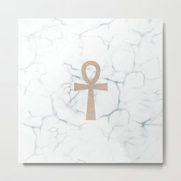 White Marble Ankh + Donation to the American Cancer Society Metal Print
