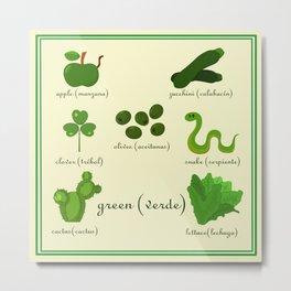 Colors: green (Los colores: verde) Metal Print