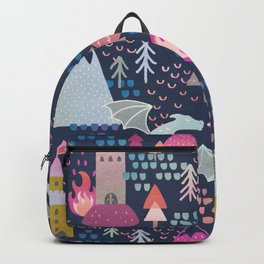 Watercolor Dragons and Castles Pattern Backpack