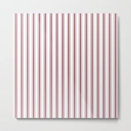 Dark Red Pear Mattress Ticking Wide Striped Pattern - Fall Fashion 2018 Metal Print