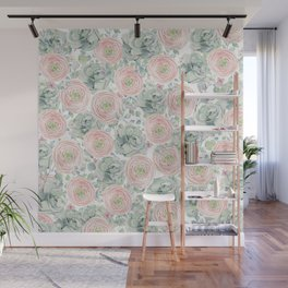 Flowers And Succulents White  #buyart #decor #society6 Wall Mural