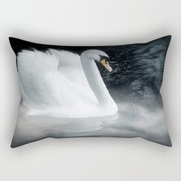 Fantasy swan on misty lake Rectangular Pillow