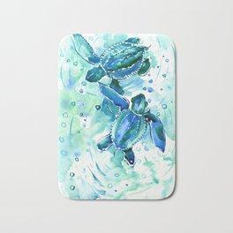 Turquoise Blue Sea Turtles in Ocean Bath Mat