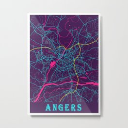 Angers Neon City Map, Angers Minimalist City Map Art Print Metal Print