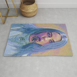 Billie Creepy Artistic Illustration Acid Pointillism Style Rug
